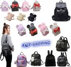 Women Girls Leather Nylon Convertible Short Mini Backpack Shoulder Chest bag