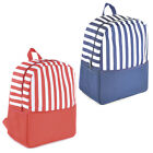MEDIUM SIZED STRIPE PRINT INSULATED WIPE CLEAN BACK PACK COOL BAG BLUE & RED NEW