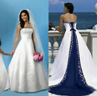 Embroidery Satin White And Royal Blue Wedding Dresses Strapless Bridal Gowns