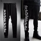 ByTheR Men's Solid Black 100% Cotton Letter Embroidery Slim Fit Jogger Pants