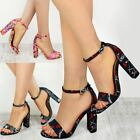 Womens Ladies Floral Block High Heels Ankle Strappy Sandals Party Evening Shoes