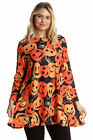 New Womens Plus Size Swing Top Ladies Halloween Pumpkin Spider Print Nouvelle