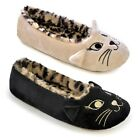 Ladies Ballet Slippers Animal Dolly Warm Comfort Fur Winter Mules Shoes Size