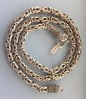 "7MM 925 STERLING SILVER SOLID BYZANTINE/ BALI LINK CHAIN LENGTH 24"" 26"""