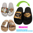 WOMENS LADIES GLITTERY SEQUIN SLIDERS FLATS SLIP ONS FLIP FLOP SANDALS MULE SIZE
