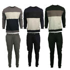 Mens Contrast Fleece Piping Tracksuit Sweat Hooded Top Slim Fit Jog Track Pants