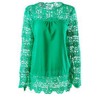 Plus Size Fashion Women Lace Casual Tops Hollow Out Long Sleeve Blouse Wear US