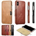iCarer Vintage Genuine Leather Folio Case Cover for iPhone X Magnetic Closure