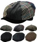 Men's Wool Blend Plaid Herringbone Winter Applejack Newsboy Patchwork Ivy Hat
