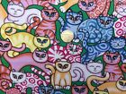 """Cats Multi Colour 100% Cotton Fabric 56"""" Wide Per Yard Craft Quilt*Upto 30% OFF*"""