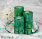 Marble effect Pillar Candle Set with Mirror Plate and acrylic diamonds optional