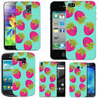 pattern case cover for many Mobile phones azure pink strawberries