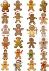 24 Mixed Gingerbread Man & Lady Large Sticky White Paper Stickers Labels NEW