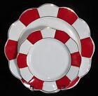 CYNTHIA ROWLEY Red White Gold Scalloped Striped DINNER SALAD PLATES NEW