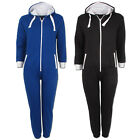 BOYS GIRLS KIDS UNISEX HOODED ZIP ALL IN ONE PLAIN COMFY COSY JUMPSUIT SIZE