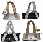 Women's leather handbag, Colombian Genuine leather bag. Black/Silver hand bag BN