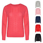 LADIES CABLE KNIT LONG SLEEVE KNITTED JUMPER WOMENS SWEATER CARDIGAN WINTER WARM