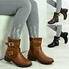New Womens Ladies Ankle Boots Side Zip Buckle Fashion Shoes Size Uk 3-8