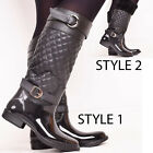 Ladies Womens Winter Welliington Quilted Boots Warm Fur Zip Up Shoes Size 3-8