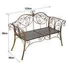 2 Seater Metal Garden Bench Park Patio Decor Furniture Birthday Christmas Gift
