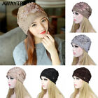 Womens Beanies Sequined Flower Slouchy Baggy Hat Lace Headwear Butterfly Hats
