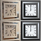 Black glass OR white glass square wall clock with Roman numbers & mirror finish