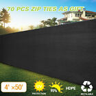 Black 4'x50' Fence Windscreen Privacy Screen Shade Cover Fabric Mesh Garden Tarp