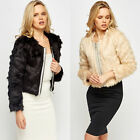 NEW LADIES WOMENS ECRUSTED FRONT FAUX CROPPED JACKET SIZE