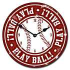 "Baseball 2 LARGE WALL CLOCK 10""- 48"" Whisper Quiet Non-Ticking WOOD HANDMADE"