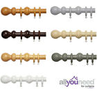 New! 28mm Wooden Complete Curtain Pole Sets with Solid Ball Finials - 5 Colours