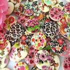 """100/200 5/8"""" Mixed Printed Flower Wooden Buttons Sewing Scrapbooking Craft 15mm"""