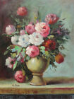 Oil Painting of White and Pink Flowers in a Pottery Vase 12*16""