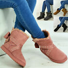 New Womens Ladies Ankle Boots Fur Snug Bow Flats Winter Shoes Size Uk 3-8