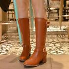 Retro Womens Block Heels Mid Calf Shoes Riding Knee High Boots Faux Leather Chic