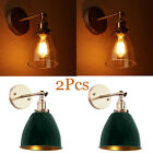 2x PCS VINTAGE INDUSTRIAL CLEAR GLASS WALL LIGHT SCONCE RUSTIC LOFT LAMP SHADE