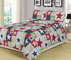 Full/Queen or King Rustic Star Quilt Set Country Primitive Bedding Coverlet Red image