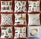 """Seaside 100% Percale Cotton Cushion Cover / Pillow Case 17"""" x 17"""" UK MADE"""