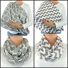 Grey Breastfeeding Cover Chevron Handmade Infinity Scarf Nursing Privacy Baby