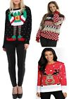 Plus Size UK Womens Elf Body Snowflakes Reindeer Knitted Christmas Jumper 24-30