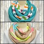 Chevron Infinity Scarf Knit Jersey Pastel Spring Easter Taupe Mint Chunky Women