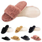 Women Ladies Girls Soft Fluffy Fur Lined Slipper Mule Flip Flop Slider Shoes New