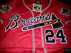 Brand New Atlanta Braves 24 Deion Sanders w Dual patches sewn Jersey RED mens