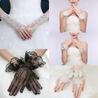 Women Lace Short Girls Fingerless Rhinestone Evening Wedding Bridal Party Gloves