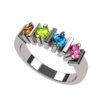 NANA Straight Bar Mother's ring Simulated Birthstone Ring, 1-6 Stones - 10k