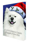 Christmas American Eskimo Dog Holiday Portrait with Santa...