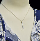 Silver Necklace Solid Straight Vertical Long Drop Bar Pendant Gift Celebrity