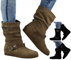 Womens Ladies Faux Ssuede Buckle Flat Fur Lining Winter Ankle Boots Shoes Size