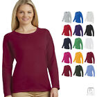 Gildan Women's Heavy Cotton Long Sleeve Plain Crew Neck T-Sh