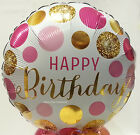 Folienballon Happy Birthday Gold Rose Pink Luftballon Geburtstag  NEU