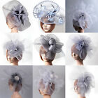Gray Lady Large Handmade Fascinator Feather Hair Clips Cocktail Party Accessory